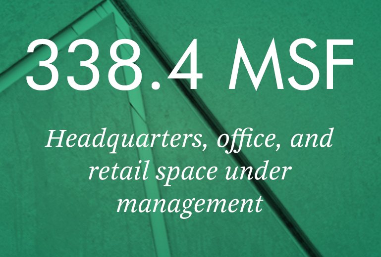 338.4 MSF Headquarters, office, and retail space under management